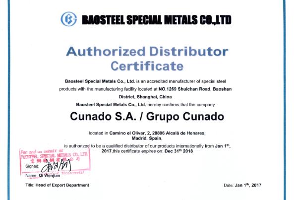 Baosteel Certificate