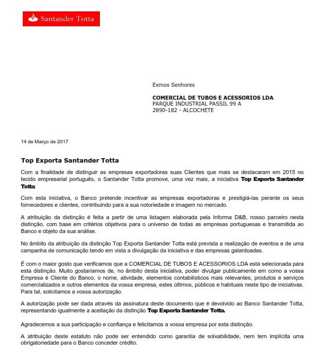 Reconocimiento Banco Santander Totta